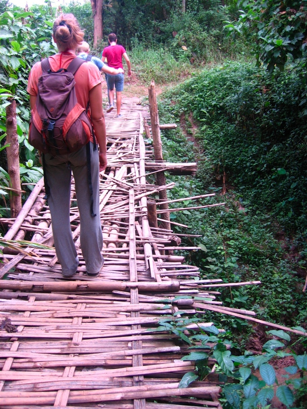 Dodgy bamboo bridge
