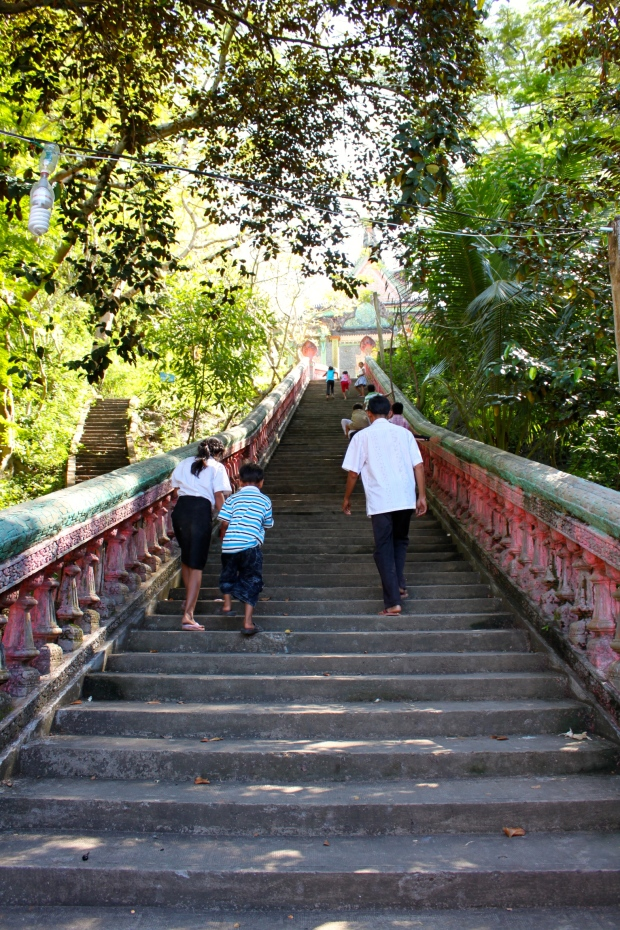 Steps up to the Phnom Sorsia temple , the 'Elephant' cave and the Bat cave