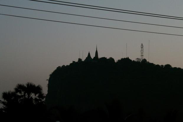 Phnom Sampeau at dusk