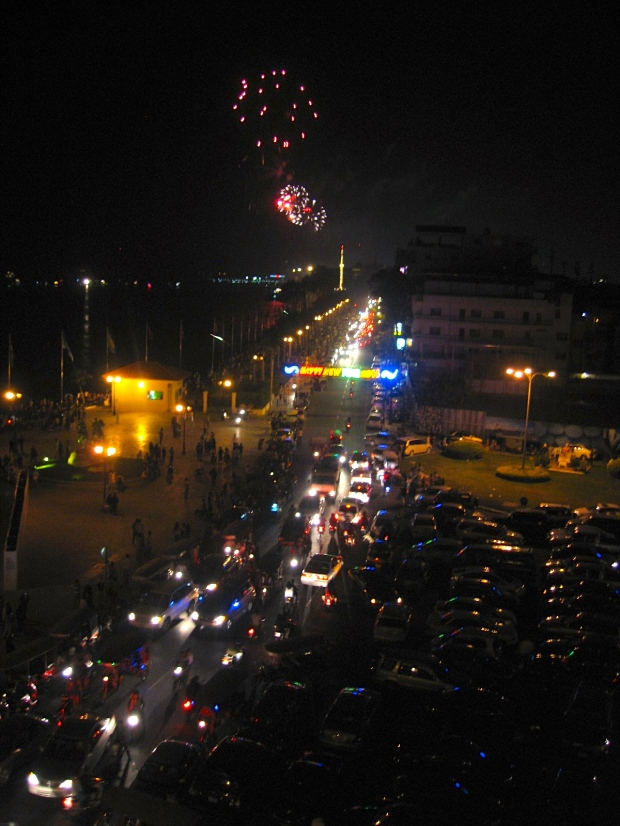 Fireworks on riverside in Phnom Penh