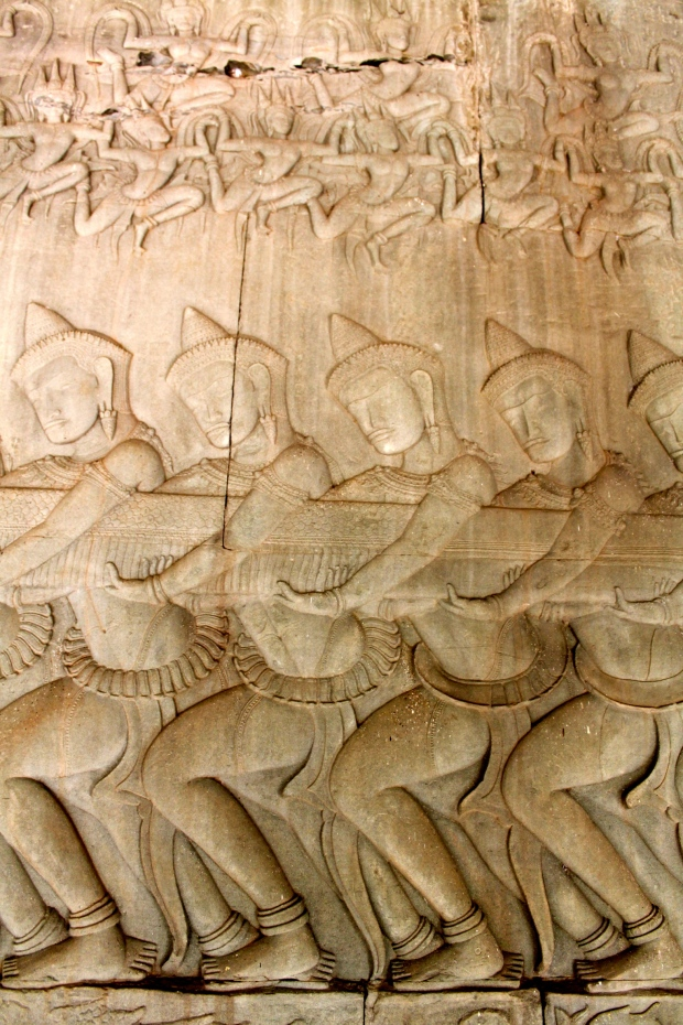 Bas relief carvings at Angkor Wat