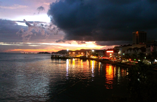 Sandakan harbour in Borneo