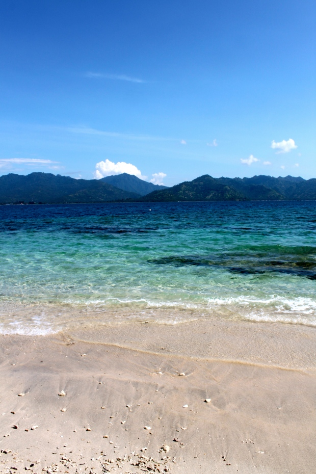 View of Lombok from Gili Air beach