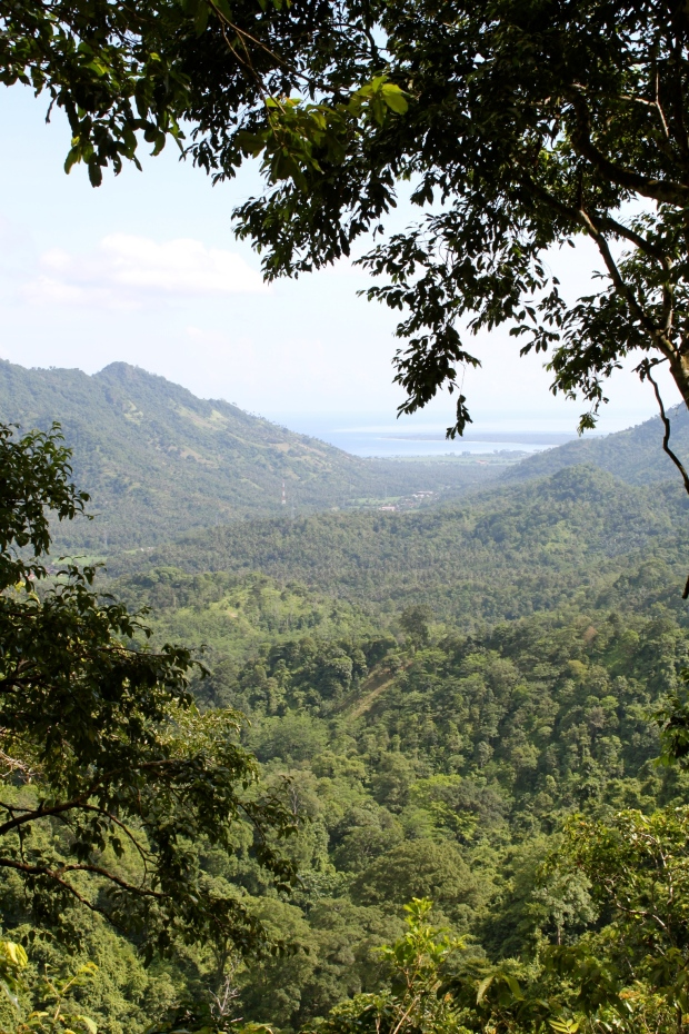 View of the Gili Islands from the road on Lombok