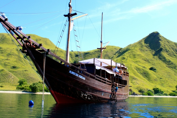 Our boat parked near Komodo Island