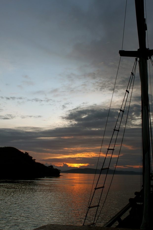 The sun sets over Komodo Island