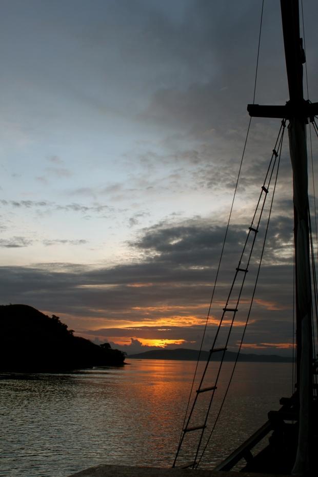 The sun sets over Komodo Island