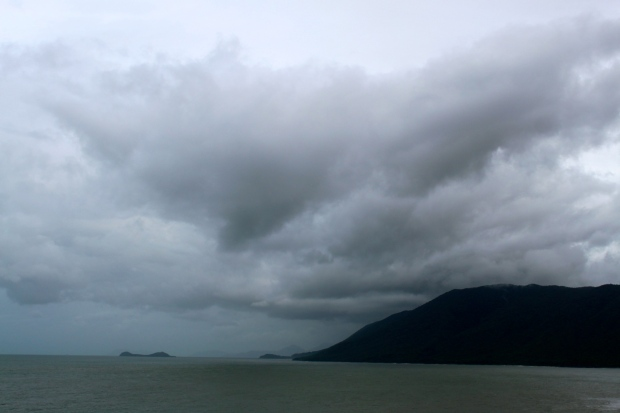 The storm rolling in towards Cairns