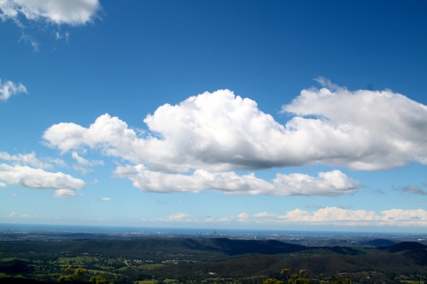 View from Tambourine Mountain to the Gold Coast and the Pacific Ocean