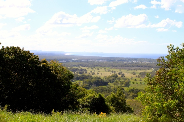 On the road to Bangalow, Byron Bay in the distance