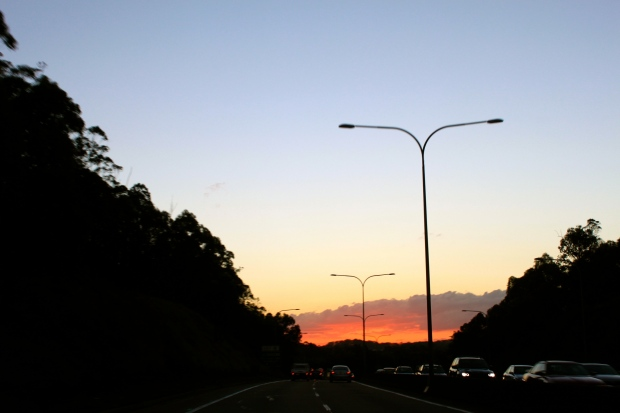 Sunset from the car, driving back to Brisbane