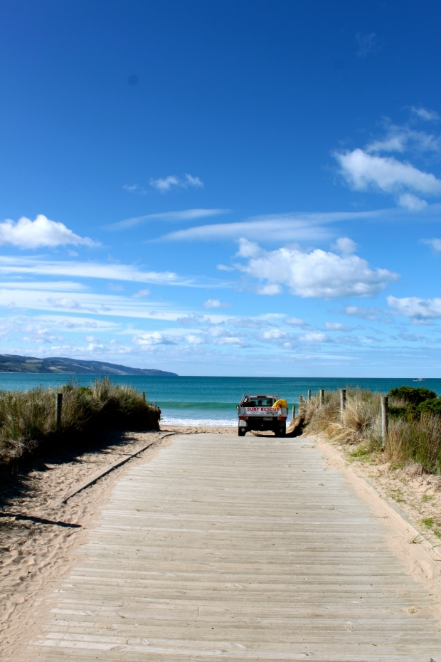 Apollo Bay, where we had fish and chips on the beach