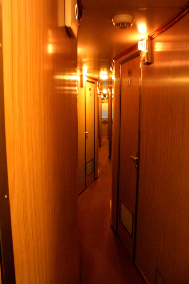 The bendy corridor in the single berth carriage of The Ghan