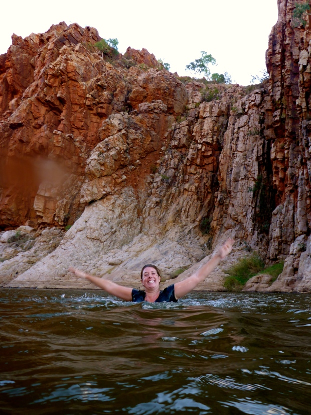 Swimming in the billabong at Glen Helen Gorge