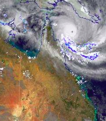 Satellite image of Cyclone Ita yesterday