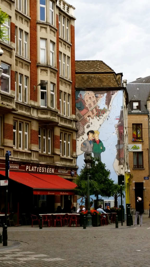 Tin Tin murals are all over central Brussels, Belgium