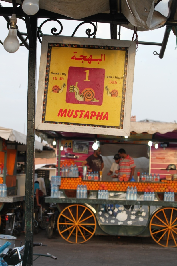 One of the food stalls in Djemaa el-Fna