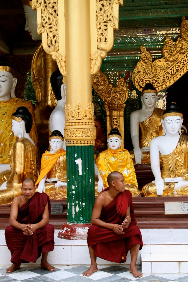 Monks hanging out at Shwedagon Pagoda