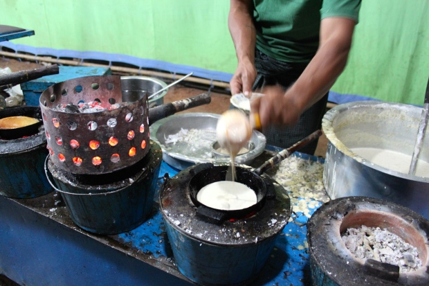 Sweet coconut pancake stall at Bagan night market