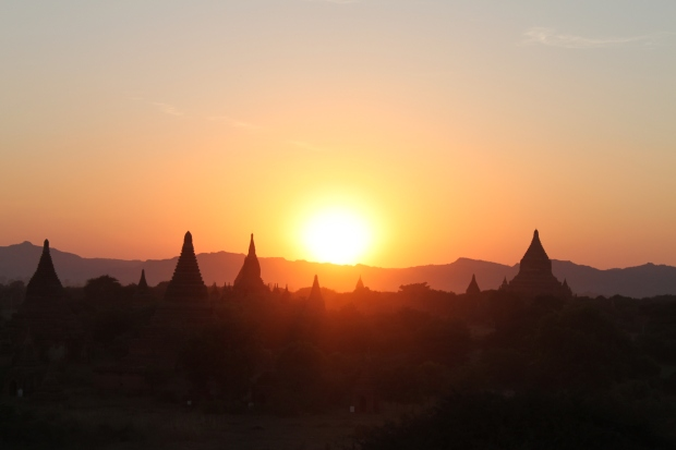 Sunset over Bagan from Shwesandaw Paya