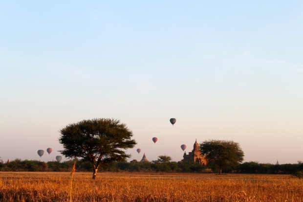 Early morning balloons in Bagan