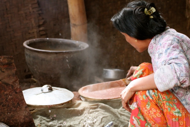 Making rice crackers in a village near Inle Lake