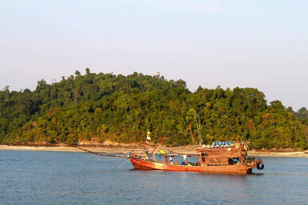Fishing boats anchored by Thai Yae Island